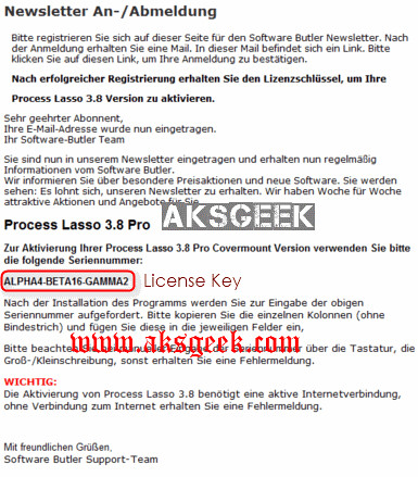 Process Lasso Pro V4 License Key