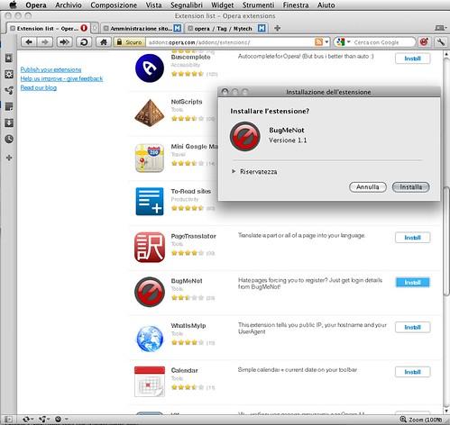 Opera 11 installa estensione