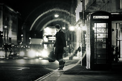 London - dreams are (sadaiche (Peter Franc)) Tags: street winter england man cold bus london circle glare box telephone coat piccadilly suit flare lookingaway