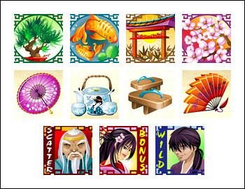 free Geisha Story slot game symbols