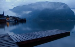Blue Hour (NatashaP) Tags: longexposure morning blue mist lake mountains reflection fog austria pier explore hallstatt interestingness18 beforedawn