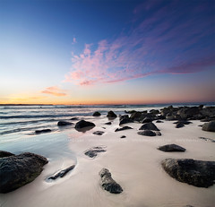 (Pawel Papis Photography) Tags: ocean blue sunset red sea sky cloud seascape beach nature water rock stone clouds landscape coast twilight sand tide wave australia explore frontpage goldcoast tweedheads vertorama