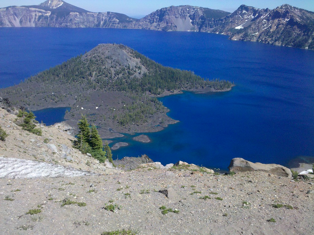 blue waters near Wizard Island, Crater Lake
