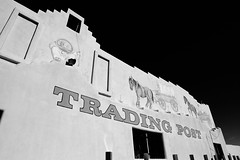 Bowlin's Old West Trading Post (glasshalffull91) Tags: new old las bw white black west canon mexico eos mural cowboy desert post indian trading western and nm cruces f28 30d deming 14mm samyang bowlins