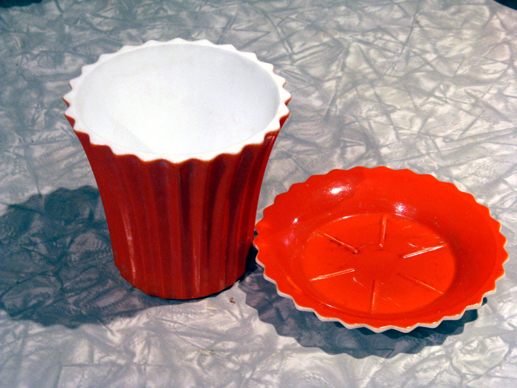 Vintage White Vitrock Milk Glass Vase and Saucer with Fired Orange Glaze - Made by Anchor Hocking