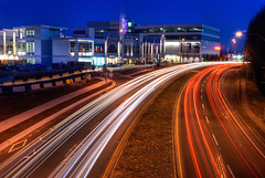 Traffic (HDR) (Brandon Godfrey) Tags: pictures above city longexposure trees light urban canada streets architecture modern night speed buildings mall landscape outdoors photography photo twilight construction highway cityscape photographer bc shot photos pics outdoor dusk path britishcolumbia sony tripod overpass victoria canadian aerial vancouverisland sidewalk uptown highway1 freeway pacificnorthwest multiple f22 lighttrails bluehour alpha transcanadahighway dslr hdr highdynamicrange lanes saanich exposures traffictrails a300 crd capitalregion 2011 20seconds tonemapped tonemapping 3exp greatervictoria lightroom30 photoshopcs5 uptownshoppingcentre