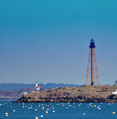 Marblehead Light with Bakers Light in distance