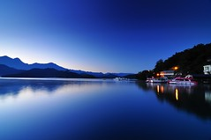 Serene morning of Sun Moon Lake3 (Vincent_Ting) Tags: sky lake reflection nature water sunrise pier nikon explore