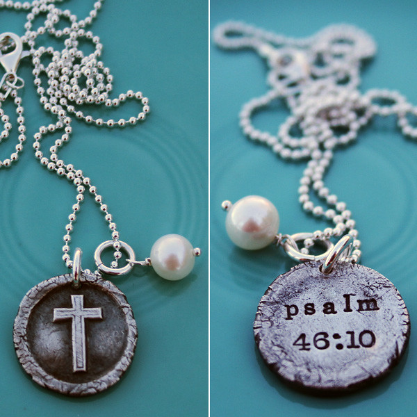 vintage scripture necklace