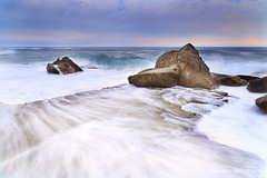 Forresters Rocks (stevoarnold) Tags: ocean blue sea beach dark rocks waves moody crash dusk sydney australia nsw newsouthwales brooding centralcoast forrestersbeach stevearnoldphotocom