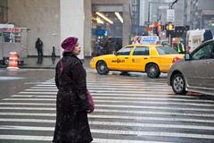 Looking to Cross (John Fraissinet) Tags: nyc newyorkcity winter woman snow ny newyork hat standing bag waiting crossing purple cab taxi streetphotography crosswalk johnfraissinet streetobservationscom