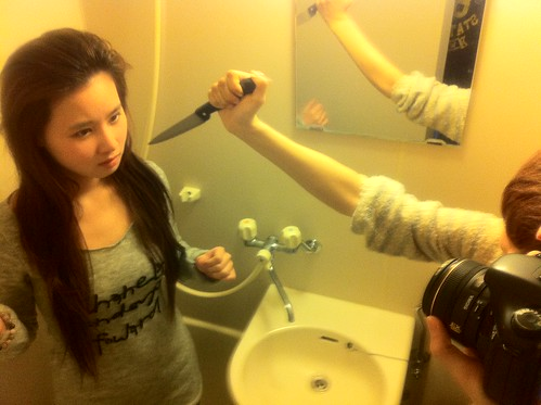 Girl in shower meets a slasher