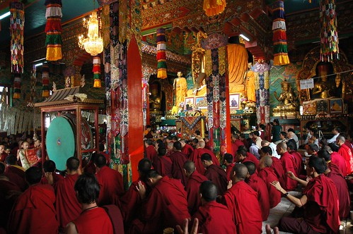 Cloth used to describe deity, the visual delight and energy of Tibetan Buddhism, HE Avikritar Rinpoche leading lamas and lay practitioners performing mudras in dedication prayers, Tharlam Monastery, Boudha, Kathmandu, Nepal