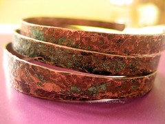 Bangles in Verdigris- Set of 4 Copper Bracelets
