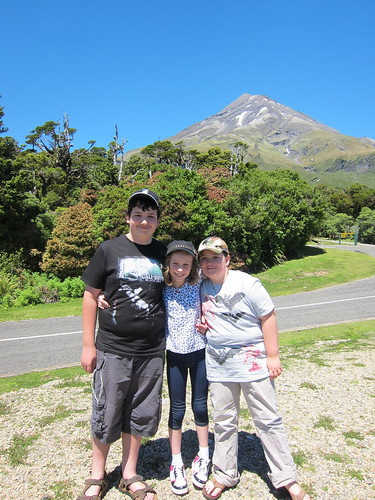 David, Caitlin and Tom in front of Mt Taranaki
