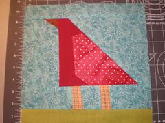 Mondo bird #1 in red & aqua (craftyturtle1) Tags: bird sewing january swap quilting liberated 2011 liberatedquilting