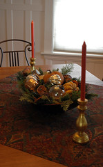 Christmas-dining room table (kizilod2) Tags: christmas wood winter orange holiday pumpkin wooden rust bowl decorating squash centerpiece decor paisley trough diningroomtable breadtrough