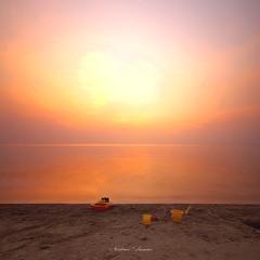 Forgotten Toys (A. Shamandour) Tags: sunset sky orange color colour skyscape toys mix sand syria mixing jeddah scape damascus saudiarabia beatch waterscape shuterspeed forgetten abdulhameedshamandour