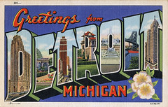 Greetings from Detroit, Michigan - Large Letter Postcard (Shook Photos) Tags: linen michigan postcard detroit postcards greetings appleblossom detroitmichigan linenpostcard motorcity bigletter largeletter largeletterpostcard linenpostcards largeletterpostcards bigletterpostcard bigletterpostcards