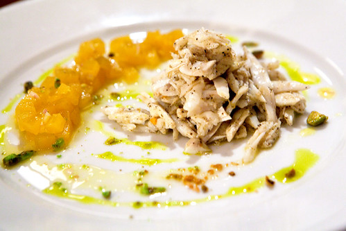 Golden beets salad with jumbo lump crab and pistachios