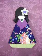 Japanese Origami Doll Tomoko (umeorigami) Tags: japan paper japanese origami doll embellishment yukata kimono paperdoll washi haori chiyogami warabeningyo