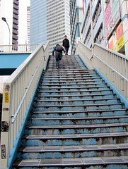 Hiking to a Skyscraper (joyjwaller) Tags: japan stairs skyscraper tokyo rust shinjuku strangers hike pristine shabby