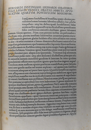 Beginning of Justinianus, Bernardus: Oratio habita apud Sixtum IV contra Turcos