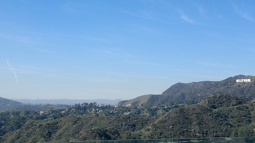 Rocket trail and Hollywood sign