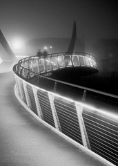 Sweep (Spencer Bowman) Tags: city bridge urban fog architecture modern night mono design scotland nightlights footbridge glasgow ghost atmosphere curve gs sweep squiggly afterdark squigglybridge