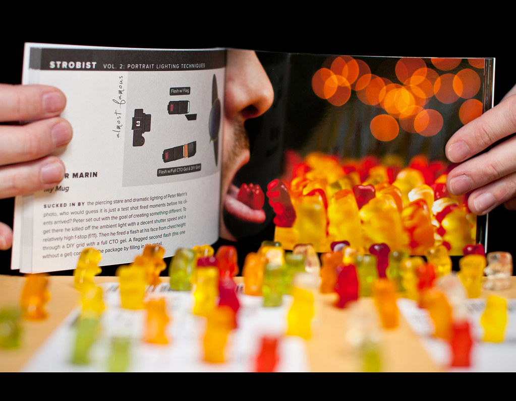 Day 169, 169/365, Project 365, Bokeh, Strobist, Sigma 50mm F1.4 EX DG HSM, 50mm, almost famous, publish, published, Strobist Photo Trade Secrets Vol. 2. Zeke Kamm, Trade Secrets, Portrait Lighting Techniques, Gummi Bears, Gummibärchen, Gummibären, Gummibears, Haribo, gummy bears, gummy, gummi bear, bears, Gummibär, Bär, Bärchen,