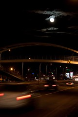 Night Lights 3 (LongInt57) Tags: road bridge light red sky cloud brown moon white motion black blur cars car yellow clouds grey lights movement highway glow traffic action gray bridges highways glowing moons roads mindigtopponalwaysontop