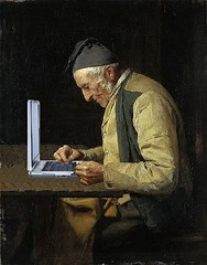 The Village Blogger, after Albert Anker