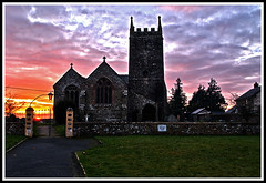 Ashreigney Church (Andrew Barrett UK) Tags: sunset red sky sun church devon hdr stjames bloodred ashreigney oloneo