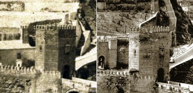 Comparativa entre la altura de la Puerta Alcántara en 1865 y la reconstrucción de los años 60