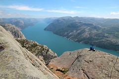 Above the famous 604 meters (daniel.virella) Tags: norge preikestolen lysefjorden norway nature people landscape fjord hiking outdoor cliff rock shore coast formation crag sea picmonkey