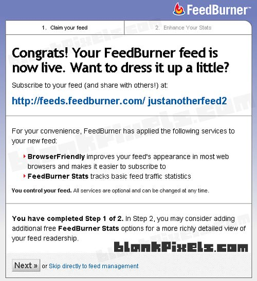 Congratulations! Your FeedBurner feed is now live! - blankpixels.com