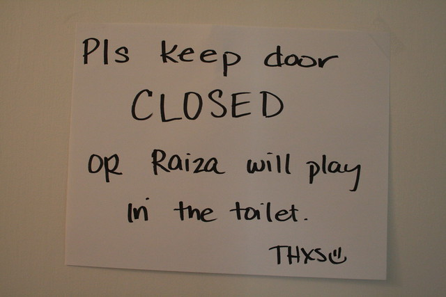 on the bathroom door, for visitors