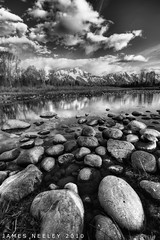 Low Water at Schwabachers Landing (James Neeley) Tags: blackandwhite bw monochrome landscape hdr grandtetonnationalpark gtnp schwabacherslanding 5xp jamesneeley