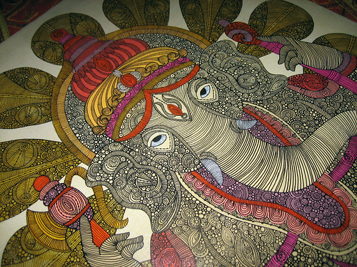 Ganesh Painting on canvas - details