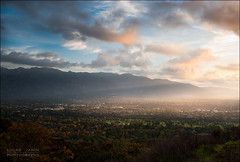 Sunrise on the valley (Lucas Janin | www.lucasjanin.com) Tags: california blue sky usa cloud mist mountain plant color tree green montagne sunrise 35mm plante gold iso200 losangeles nikon outdoor vert explore ciel valley f80 nikkor nuage arbre couleur crepuscularrays leverdesoleil altadena lightroom godrays lightroom3 nikond700 lucasjanin afsnikkor2470mmf28ged sec