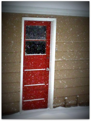 Red Door in the Snow
