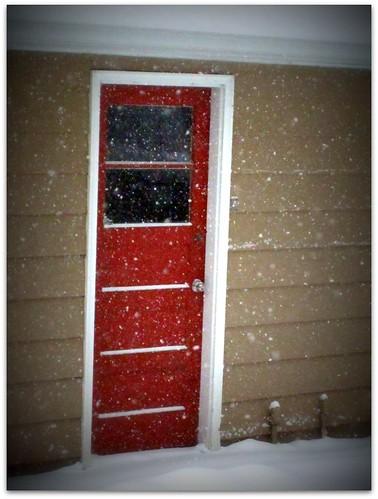Red Door in the Snow