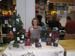 Me (Shelley Havens-Mills) at the Parent Palooza Event (teensytoesdesigns) Tags: wool handmade crochet knit event babybooties