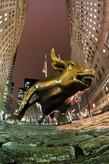 Charging Bull II (laverrue) Tags: nyc longexposure sculpture ny newyork building tourism bronze night speed symbol manhattan vanity landmark tourist bull financialdistrict gothamist horn wallstreet aggressive optimism iconic financial stockexchange attraction prosperity paved virility stockmarket wallstreetbull chargingbull arturodimodica bowlinggreenbull