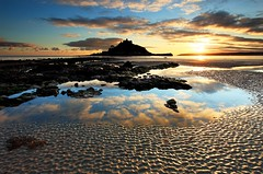 "Reflections in a Rockpool - Noticed the wonderful reflection in this rock pool during an evening stroll along Marazion beach.  Tony  Image improves enormously if you kindly <a href=""http://bighugelabs.com/onblack.php?id=5263459991&size=large"" rel=""nofollow"">View On Black</a>"