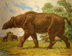 Indricotherium(largest land mammal ever) by Charles Knight at the Los Angeles Museum of Natural History 175A (Bruce Aleksander & Dennis Milam) Tags: california art mammal losangeles southerncalifornia prehistoric museumofnaturalhistory oilpainting indricotherium charlesknight