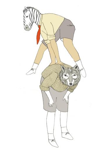 cebra y lobo jugando a burro