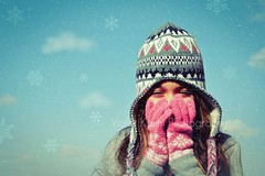 Winter mood (Violet Kashi) Tags: snowflake winter sky cold girl hat clouds season naturallight explore gloves frontpage clich hcs mysweetdaughter