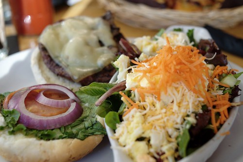 Mushroom Swiss Bison Burger with Granny Bee's Mountain Roughage @ Grizzly Paw