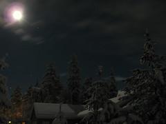 IMG_1239 (arwen808) Tags: trees sky moon snow night clouds oregon stars backyard moonlight sunriver threerivers milkyway timelaps